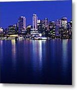 Vancouver Skyline At Night, British Metal Print