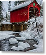Vermonts Moseley Covered Bridge Metal Print