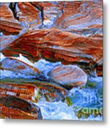 Vibrant Colored Rocks Verzasca Valley Switzerland  Metal Print