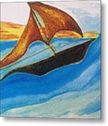 Viking Sailboat Metal Print