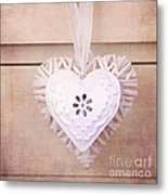 Vintage Hearts With Texture Metal Print