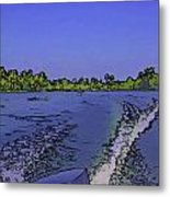 Wake From The Wash Of An Outboard Motor Metal Print