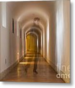 Walking In A Tunnel Metal Print