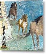Wild Mustang Horses Outer Banks Lighthouses Nautical Chart Map Art Metal Print