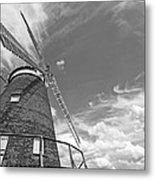 Windmill In The Sky In Black And White Metal Print