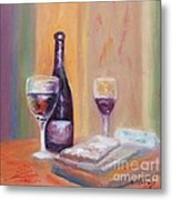 Wine And Blue Cheese Metal Print