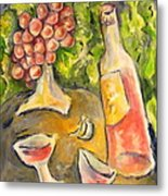 Wine And Grapes Metal Print