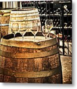 Wine  Glasses And Barrels Metal Print