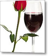 Wine With Red Rose Metal Print