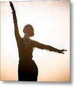 Woman Dancing At Sunrise Metal Print