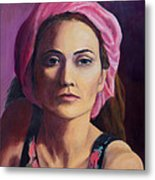 Woman In A Pink Turban Metal Print