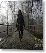 Woman Walking On A Bridge Metal Print