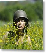 Woman With Military Helmet Metal Print