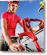 Women Cyclists Metal Print