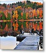 Wooden Dock On Autumn Lake Metal Print