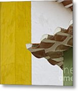 Yellow And Green Lines To The Roofs Metal Print