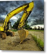 Yellow Excavator Metal Print