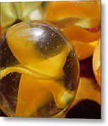 Yellow Marbles Metal Print