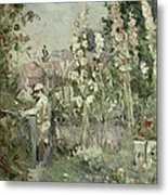 Young Boy In The Hollyhocks Metal Print