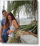 Young Couple Palm Tree Metal Print