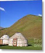 Yurts In The Tash Rabat Valley Of Kyrgyzstan  Metal Print