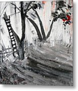 2013 058 Tree And Ladder Alexandria Virginia Silver Black White Red Metal Print