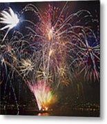 2013 Independence Day Fireworks Display On Portland Oregon Water Metal Print