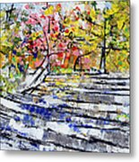 2014 19 Silver And Blue Stairs To Pink And Yellow Woods Srpsko Sarajevo Metal Print