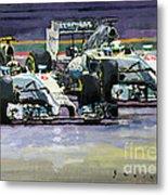 2014 F1 Mercedes Amg Petronas  Lewis Hamilton Vs Nico Rosberg Metal Print