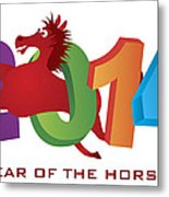 2014 Horse Leaping Over Numerals Isolated Metal Print