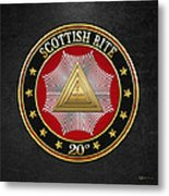 20th Degree - Master Of The Symbolic Lodge Jewel On Black Leather Metal Print