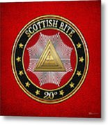 20th Degree - Master Of The Symbolic Lodge Jewel On Red Leather Metal Print