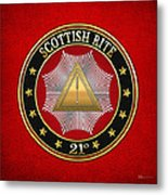 21st Degree - Noachite Or Prussian Knight Jewel On Red Leather Metal Print