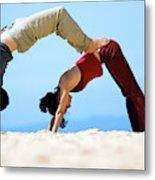 A Man And Woman Practicing Yoga Metal Print