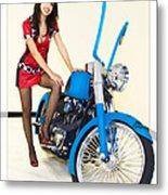 Models And Motorcycles Metal Print