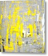 Imagination - Grey And Yellow Abstract Art Painting Metal Print