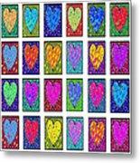 24 Hearts In A Box Metal Print