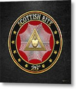 26th Degree - Prince Of Mercy Or Scottish Trinitarian Jewel On Black Leather Metal Print