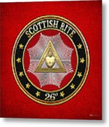 26th Degree - Prince Of Mercy Or Scottish Trinitarian Jewel On Red Leather Metal Print