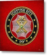 29th Degree - Scottish Knight Of Saint Andrew Jewel On Red Leather Metal Print