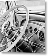 1933 Pontiac Steering Wheel -0463bw Metal Print