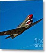 A Curtiss P-40e Warhawk In Flight Metal Print