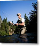 A Fly-fisherman In The Truckee River Metal Print