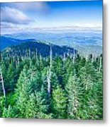 A Wide View Of The Great Smoky Mountains From The Top Of Clingma Metal Print
