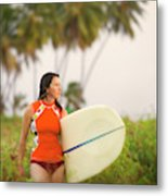 A Woman Carries A Surfboard To The Beach Metal Print