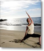 A Women At The Beach Performing Yoga Metal Print