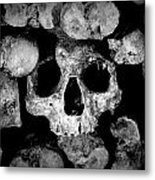 Altered Image Of Skulls And Bones In The Catacombs Of Paris France Metal Print