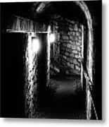 Altered Image Of The Catacomb Tunnels In Paris France Metal Print