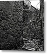 Ancient Street In Tui Bw Metal Print