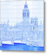 Arch Bridge Across A River, Westminster Metal Print